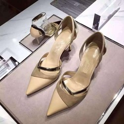 ShoespieHollow Thread Pointed Toe Color Block Stiletto Heel