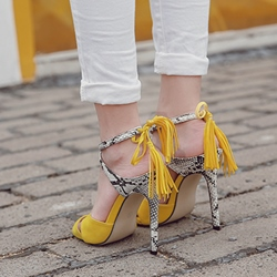 Shoespie Color Block Cross Straps Dress Sandals