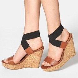 Platform Color Block Elastic Band Wedge Sandals