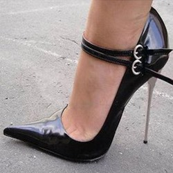 Shoespie Black Pointed-toe Double Metal Buckles Stiletto Heels