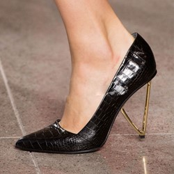 Shoespie Black Alligator Pattern Shaped Stiletto Heels