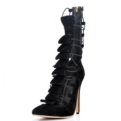 Shoespie Back Zipper Cross Strap Stiletto Heels