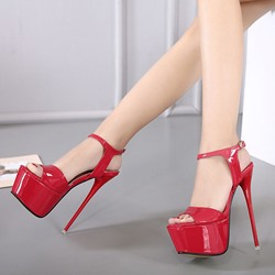 Shoespie Open Toe Metal Buckles Platform Heels