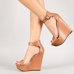 Shoespie Line-Style Buckle Heel Covering Wedge Heel Sandals