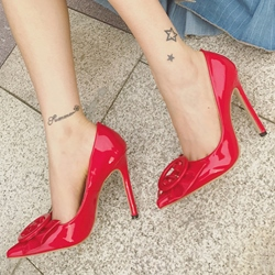 Shoespie Pointed Toe Buckle Stiletto Heels