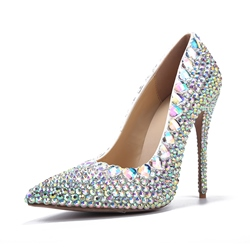 Shoespie Sequined Rhinestone Pointed Toe Stiletto Heels