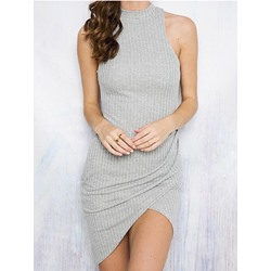 Shoespie Asymmetric Thread Dress