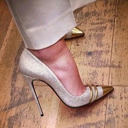Shoespie Trendy Glitter Banquet Pointed-toe Stiletto Heels