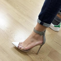 Shoespie Pointed Toe Line-Style Buckle Stiletto Heels
