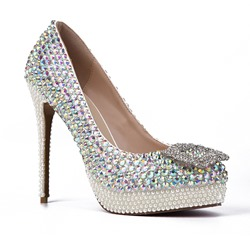 Shoespie Rhinestone Wedding Stiletto Heel Platform Heels