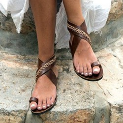 Toe Ring Lace-Up Flat Sandals