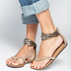 Shoespie Thong Zipper Heel Covering Flat Sandals