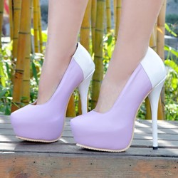 Shoespie Purple Round Toe Platform Heels