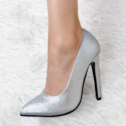 Shoespie Silver Pointed-toe Shallow Stiletto Heels