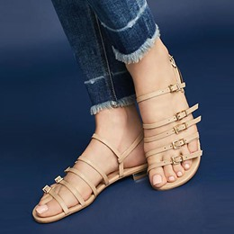 Hasp Strappy Open Toe Flat Sandal