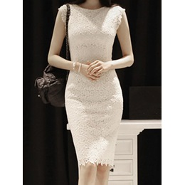 Shoespie Round Neck Lace Dress