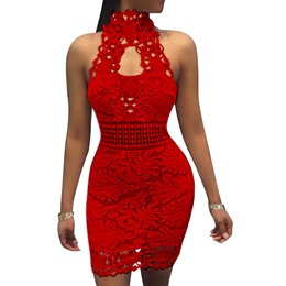 Shoespie Above Knee Zipper Lace Wedding Sleeveless Bodycon Dress