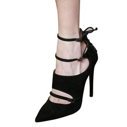 Shoespie Sexy Black Buckle Stiletto Heels