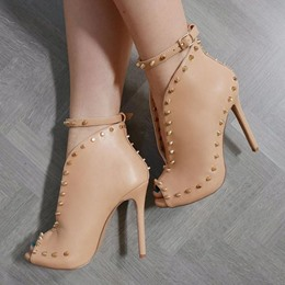 Shoespie Line-Style Buckle Rivet Peep Toe Stiletto Heel