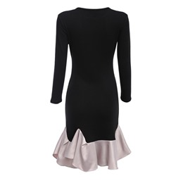Shoespie Patchwork Mermaid Pullover Three-Quarter Sleeve Bodycon Dress