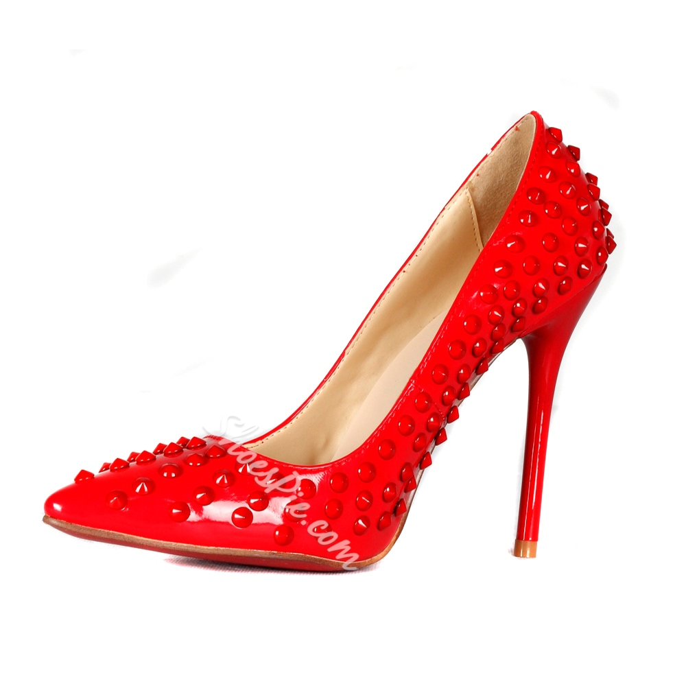 Shoespie Red Pointed Toe Rivet Stiletto Heels Shoespie