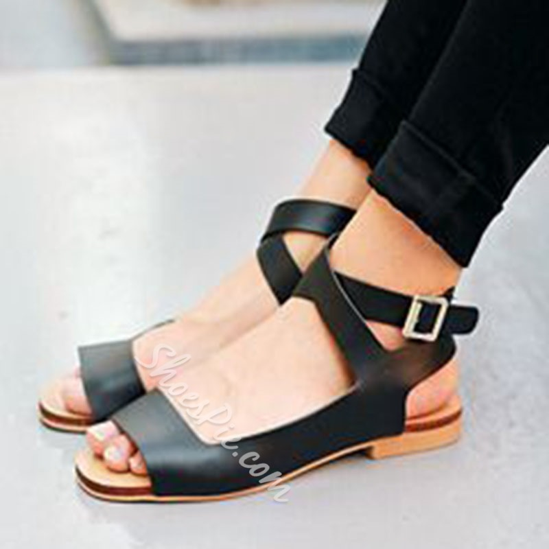 Shoespie Peep ToeBuckle Ankle Strap Block Heel Flat Sandals