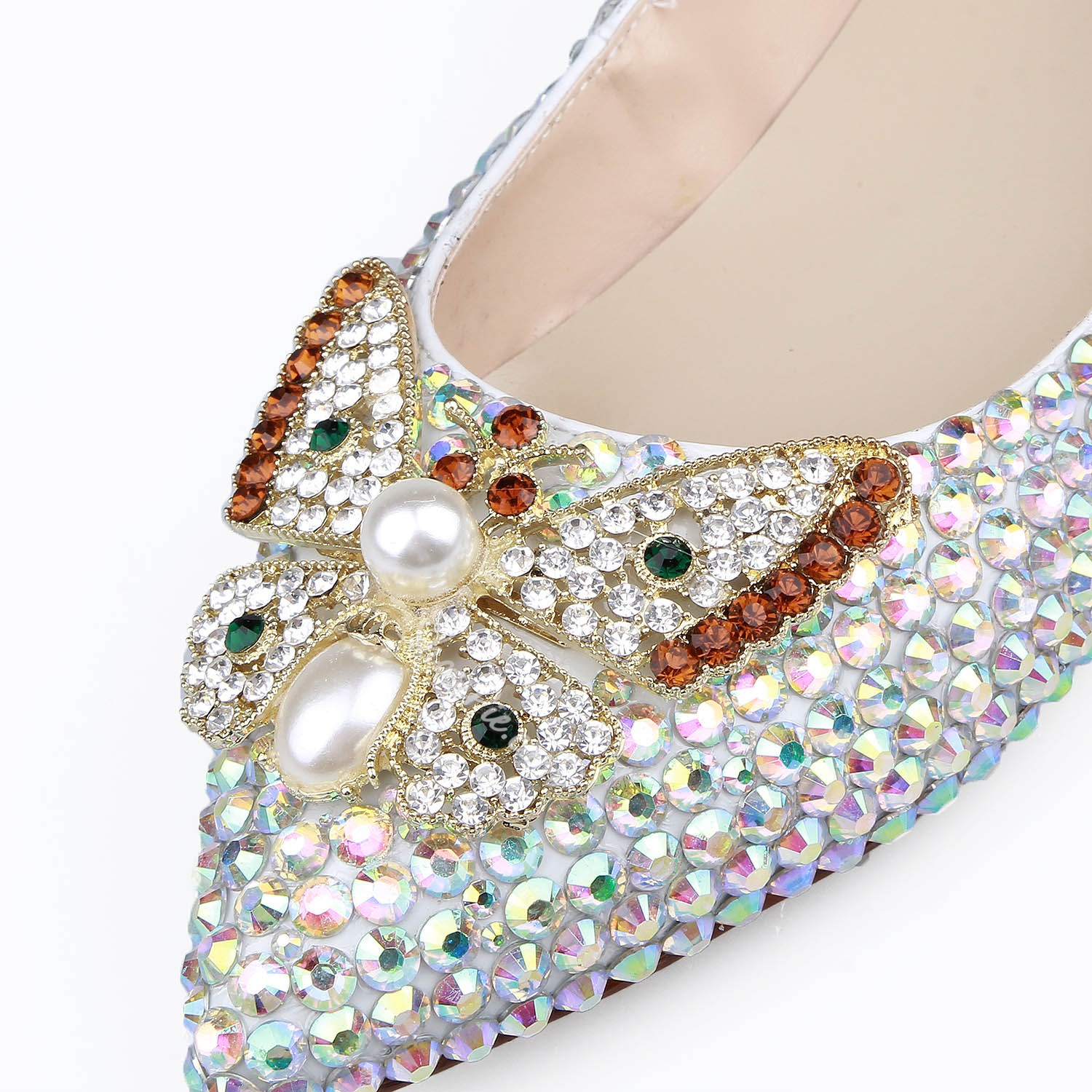 Shoespie Rhinestone Beads Pointed Toe Slip-On Banquet Bridal Shoes Loafers