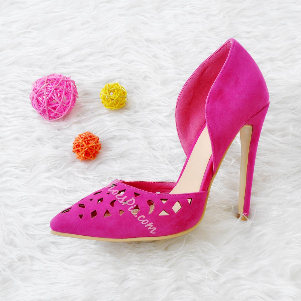 Shoespie Rose Pointed-toe Cutout Stiletto Heels