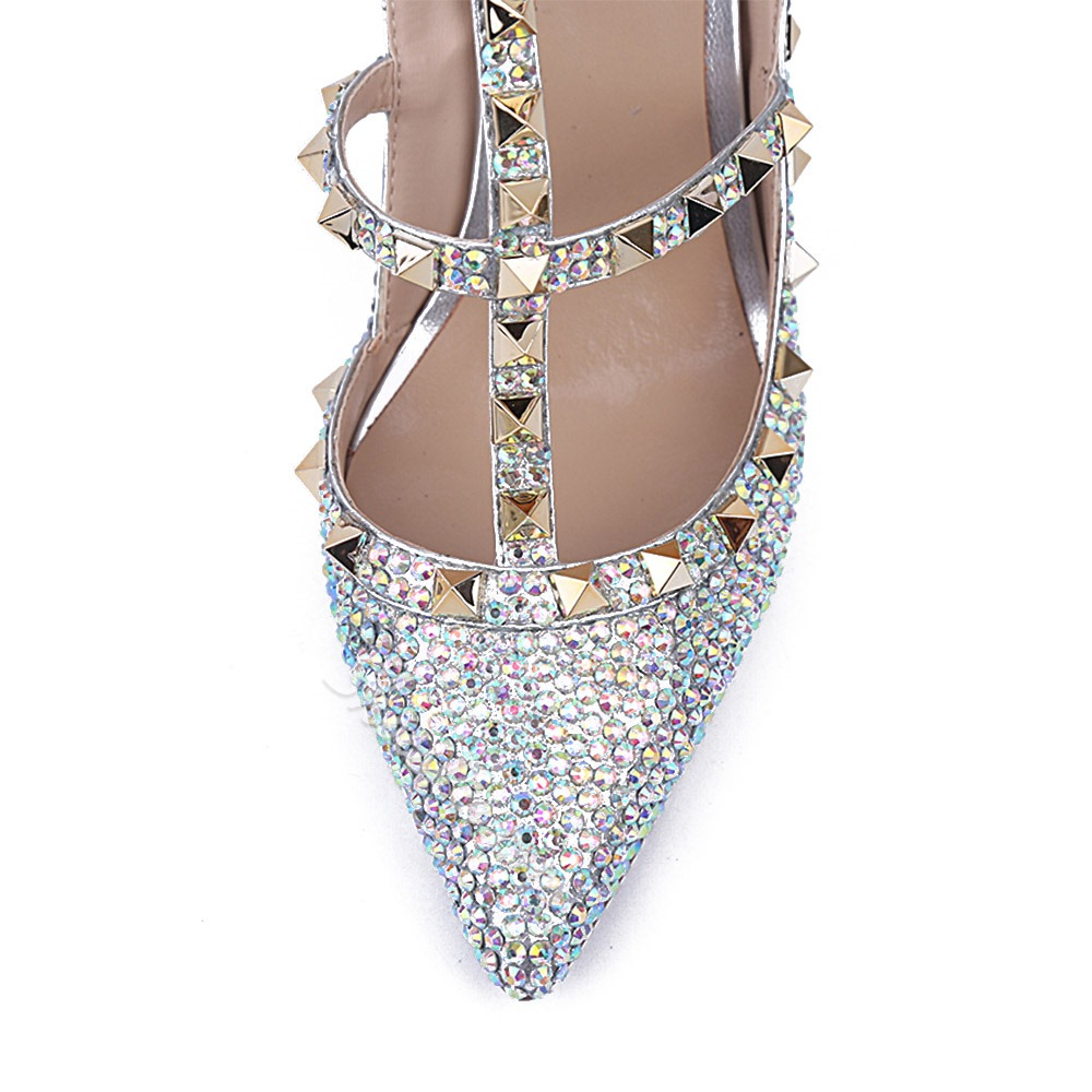 Shoespie Rhinestone Rivet Banquet Closed Toe Buckle Strappy Stiletto Heels