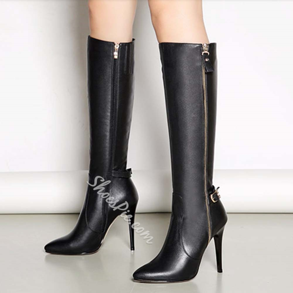 Shoespie Side Zipper Stiletto Heel Fashion Knee High Boots