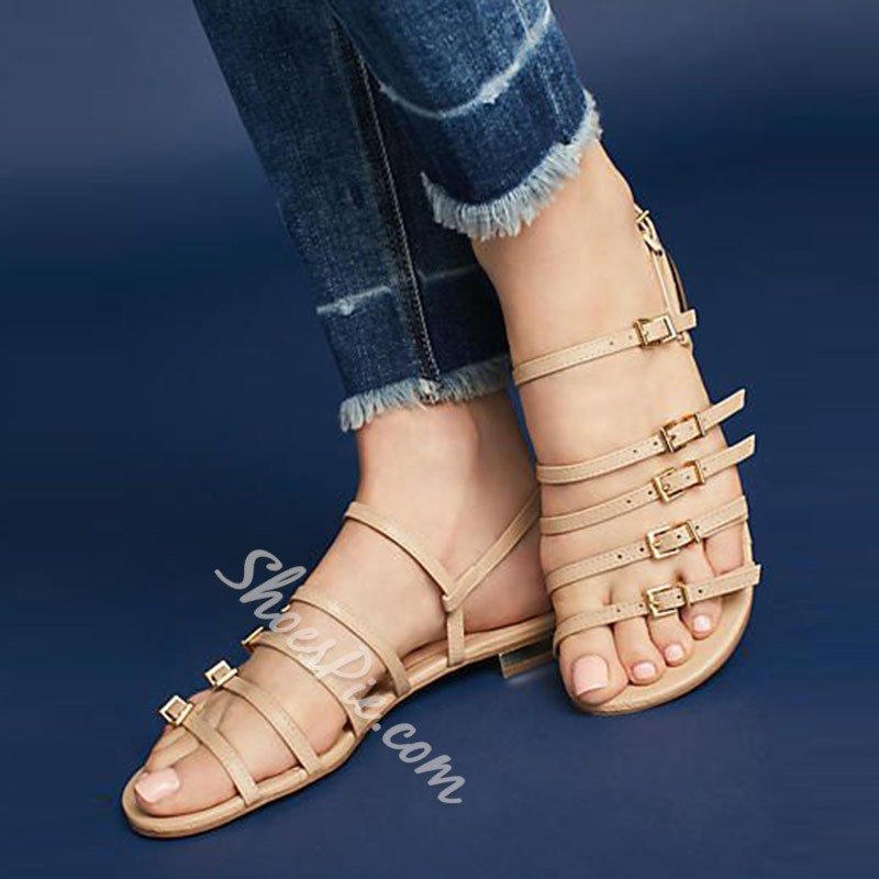 Shoespie Hasp Strappy Open Toe Flat Sandal