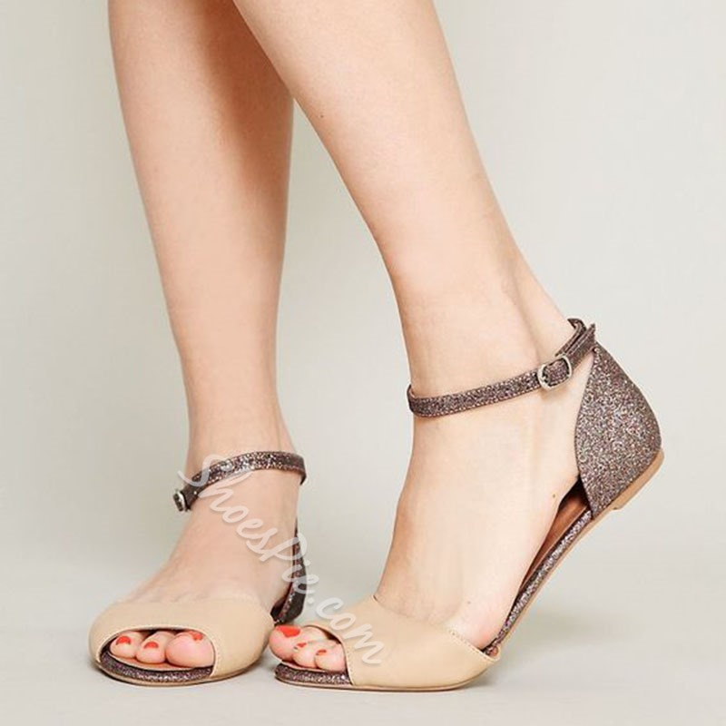 Shoespie Sequin Peep Toe Line-Style Buckle Heel Covering Flat Sandals