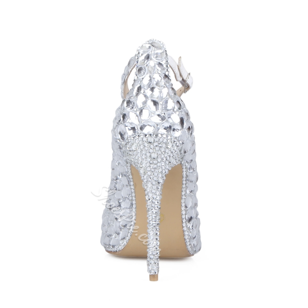 Shoespie Rhinestone T-Strap Pointed Toe Stiletto Heel