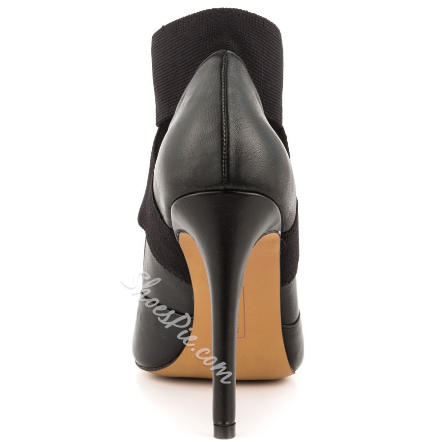Shoespie Elastic Band Pointed Toe Stiletto Heels