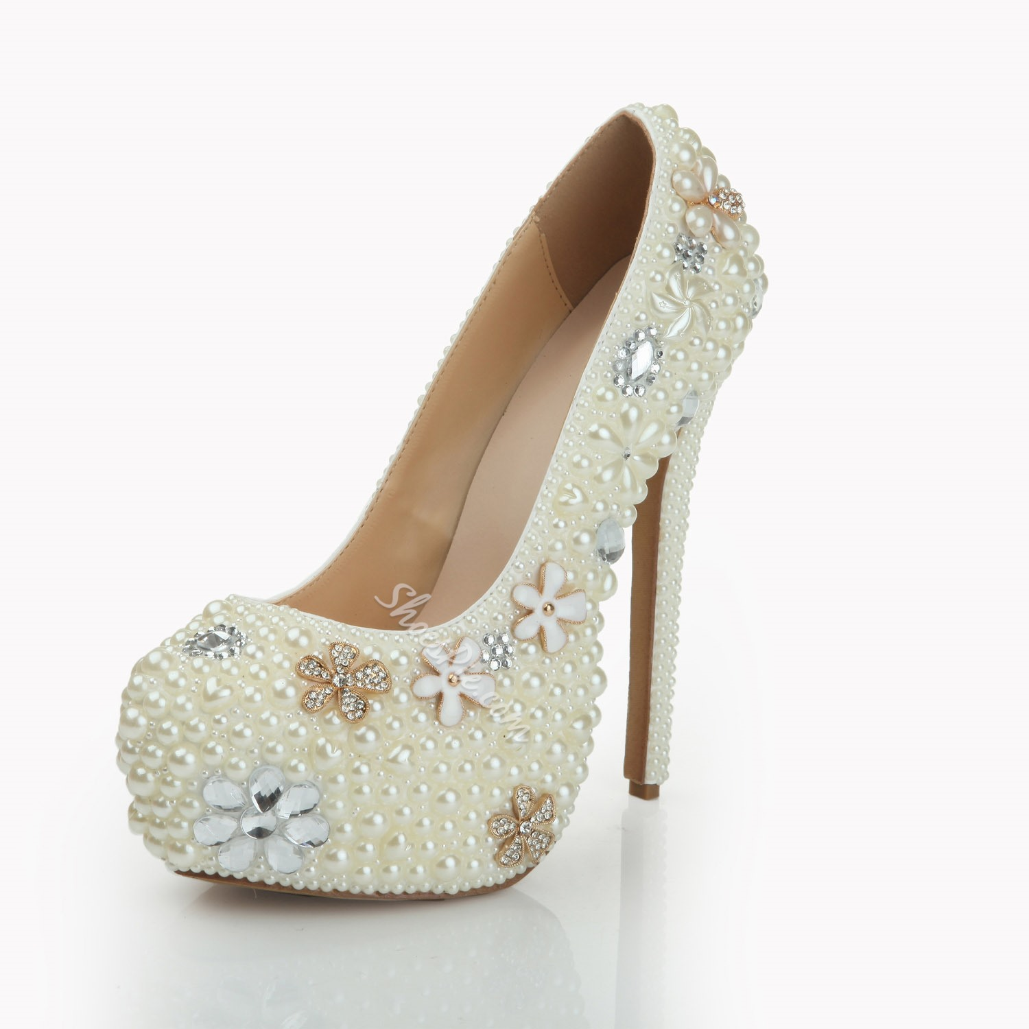 Shoespie Rhinestone Beads Wedding Stiletto Heel Platform Heels
