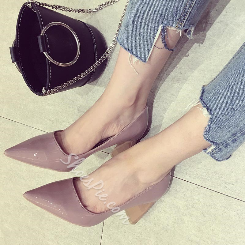 Shoespie Pointed Toe Stiletto Heel Slip-On Chunky Heel