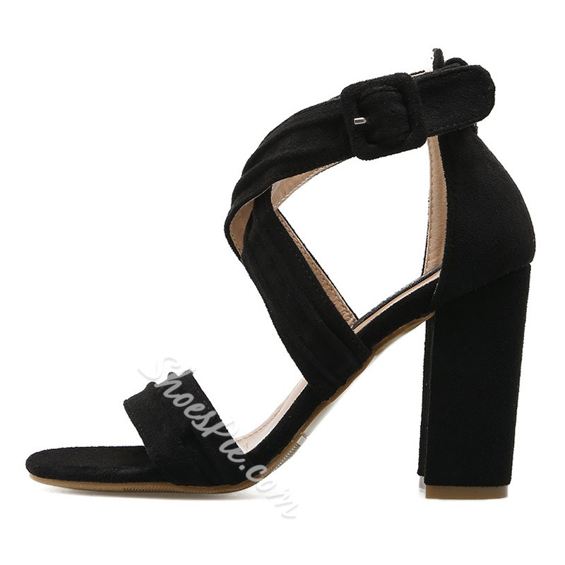 Shoespie Gladiator Buckle Chunky Heels Dress Sandals