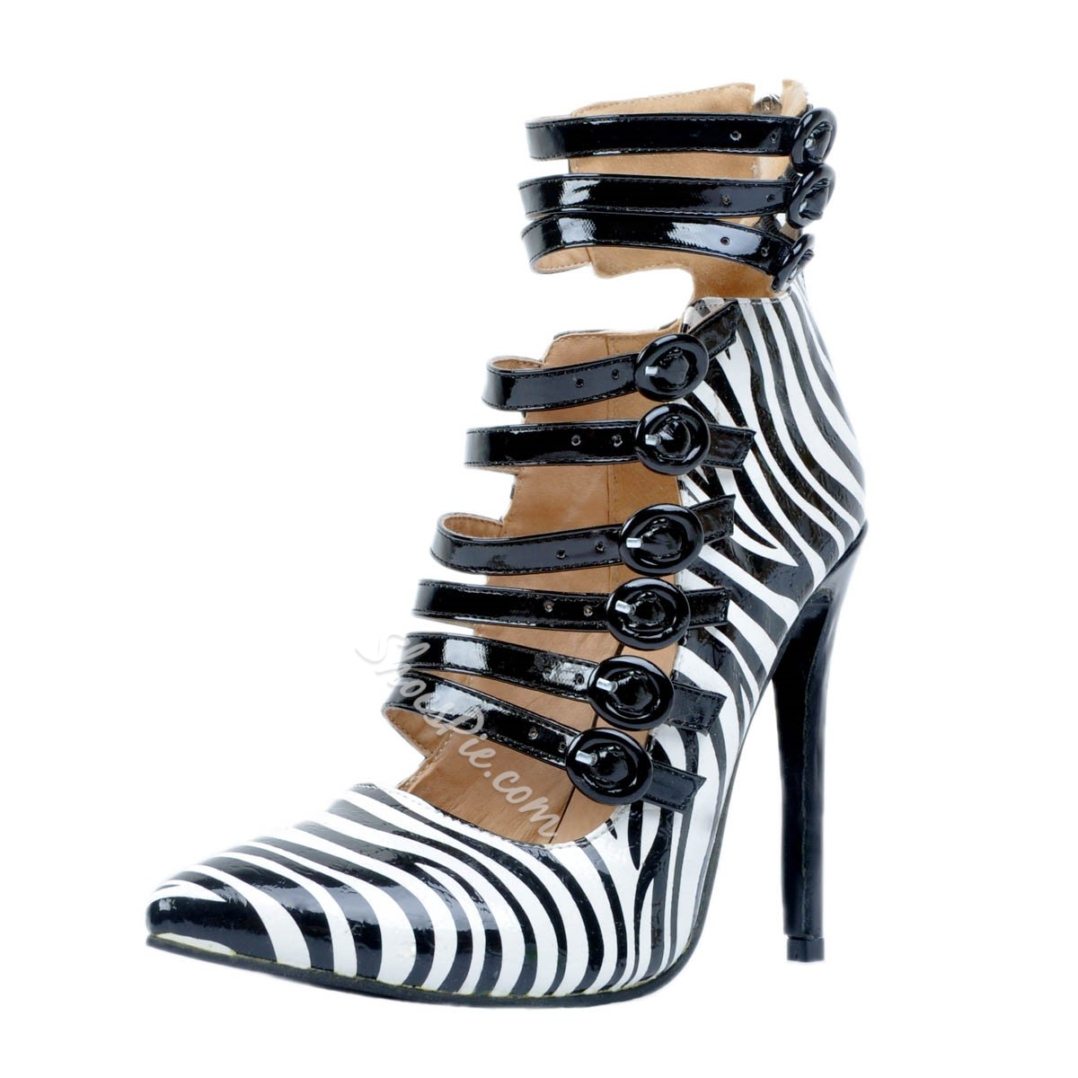 Shoespie Back Zipper Zebra Stiletto Heels
