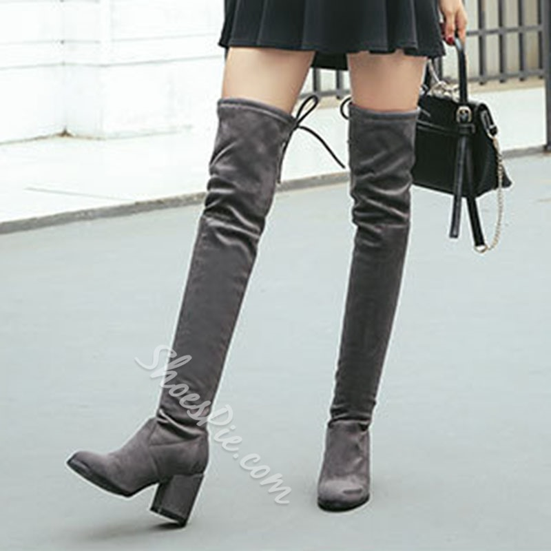 Shoespie Round Toe Chunky Knee High Boots