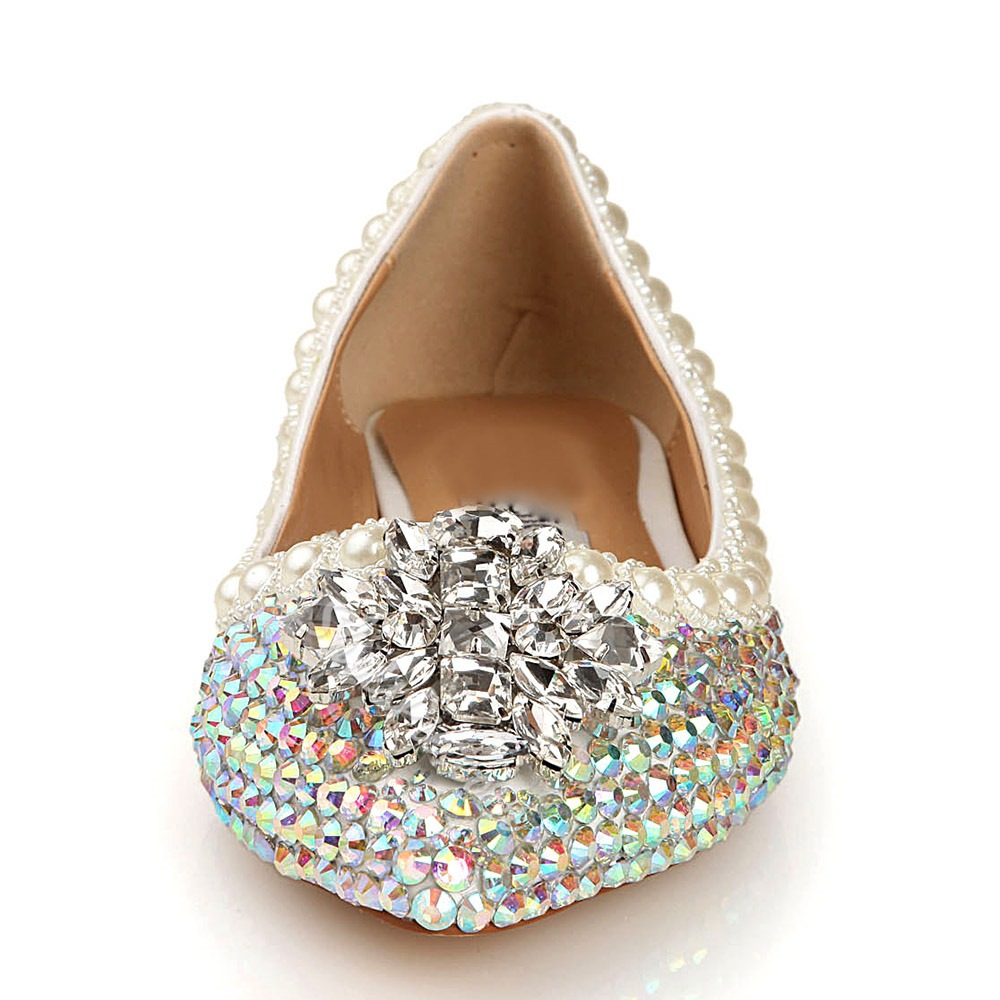 Shoespie Rhinestone Beads Slip-On Wedding Bridal Shoes
