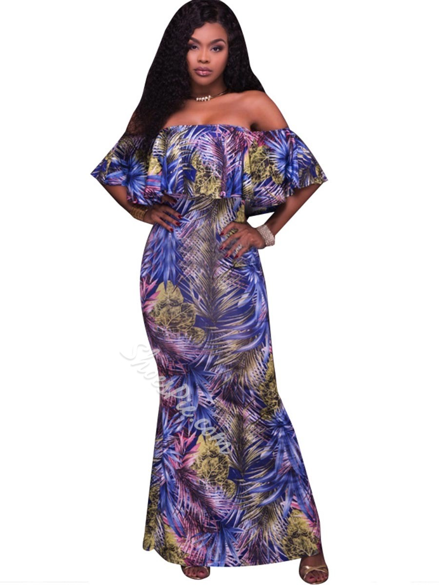 Shoespie Bud Floral Ankle-Length Short Sleeve Bodycon Dress