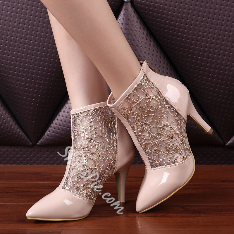 Shoespie Lace Patchwork Back Zipper Ankle Boots