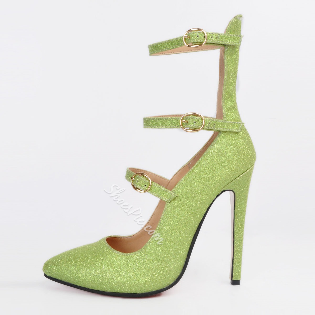 Shoespie Green Buckles Pointed Toe Stiletto Heels