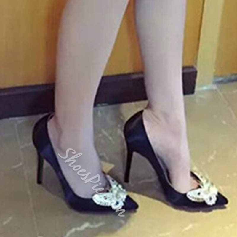 Shoespie Rhinestone Beads Banquet Pointed Toe Stiletto Heel