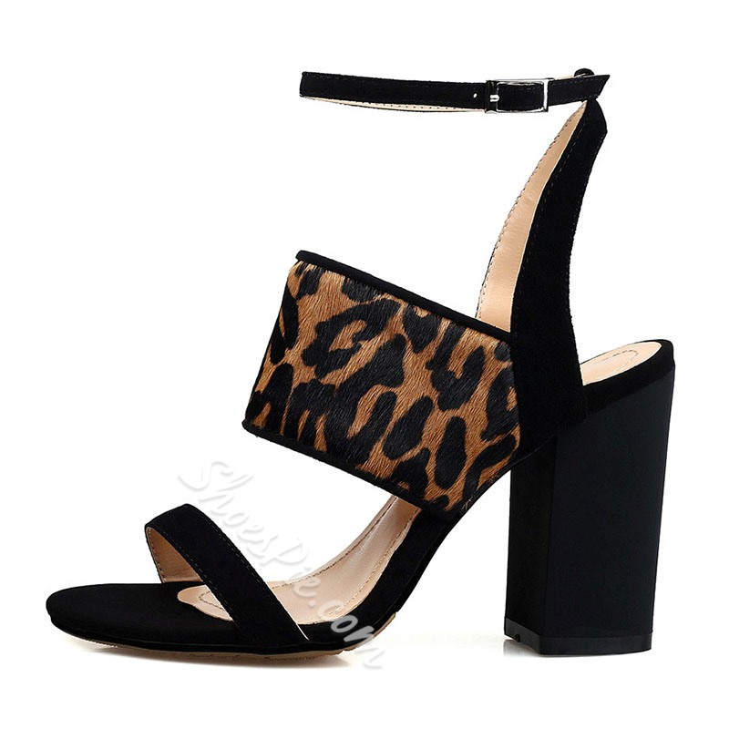 Shoespie Strappy Line-Style Buckle Chunky Heels