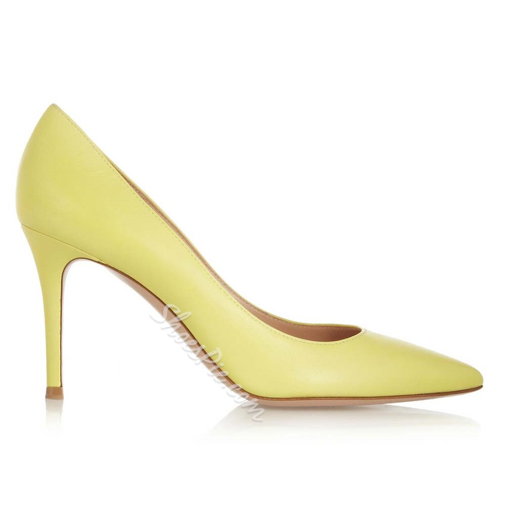 Shoespie Professional Yellow Pointed Toe Stiletto Heels
