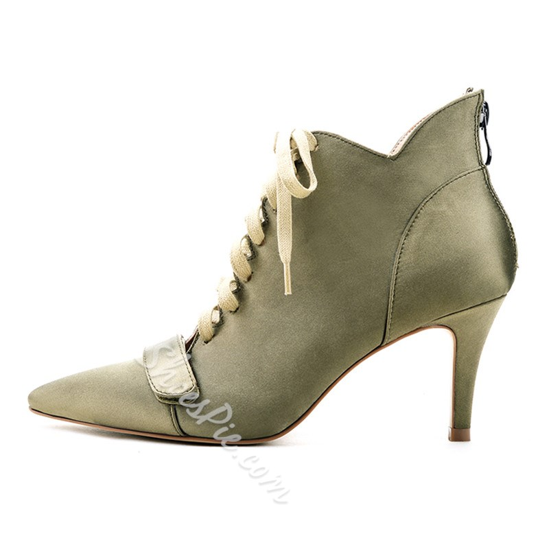 Shoespie Pointed Toe Back Zipper Ankle Boots