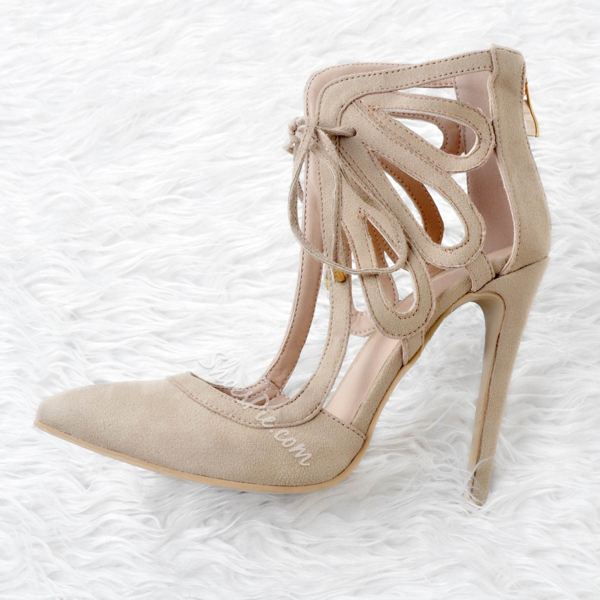 Shoespie Cross Strap Hollow Thread Stiletto Heels