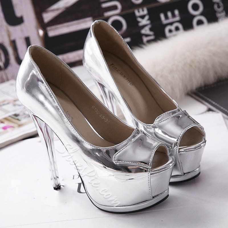 ShoespiePeep Toe Slip-On Stiletto Heel Platform Heel