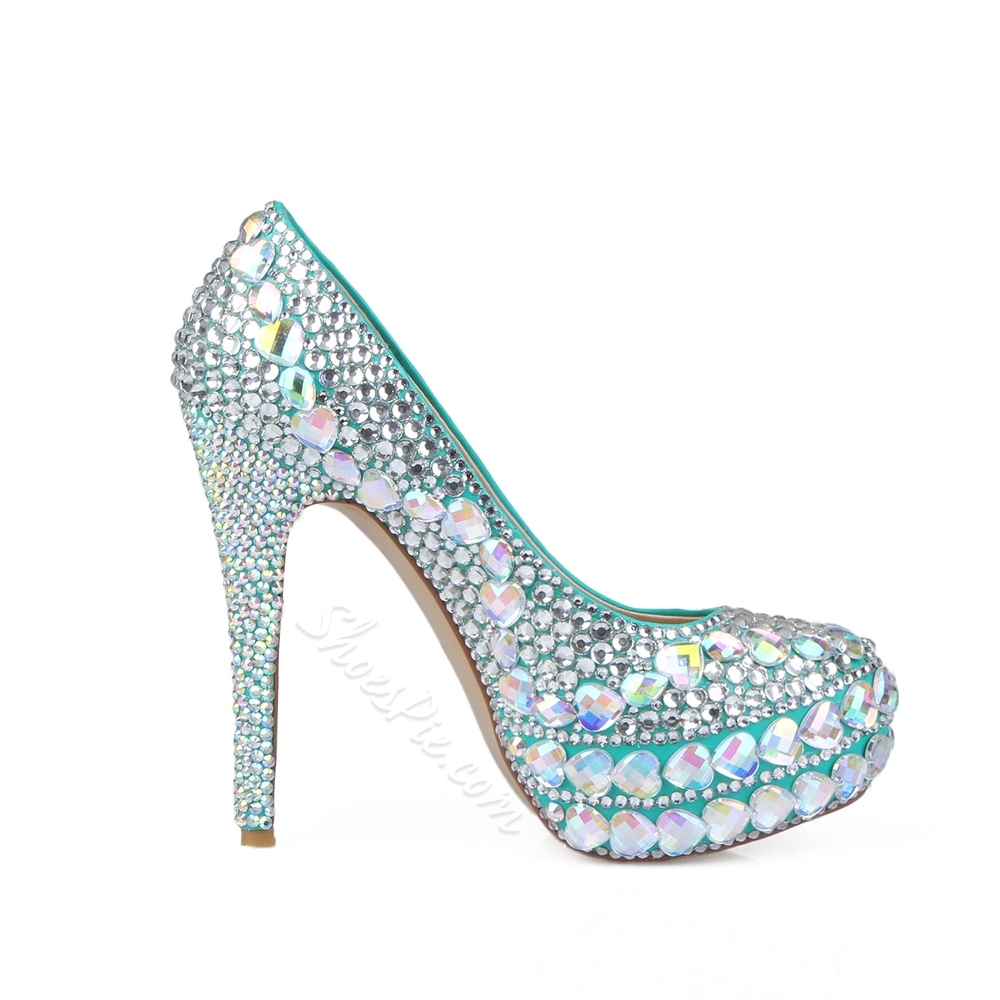 Shoespie Rhinestone Platform Slip-On Stiletto Heel Banquet Bridal Shoes